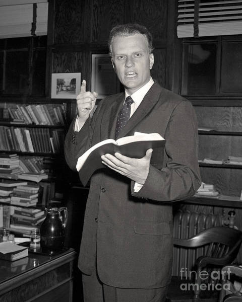 Photograph - Billy Graham 1956 by Martin Konopacki Restoration