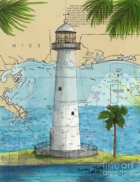 Wall Art - Painting - Biloxi Lighthouse Ms Nautical Chart Art Cathy Peek by Cathy Peek