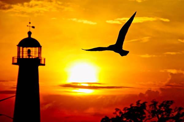 Biloxi Lighthouse Sunset Art Print