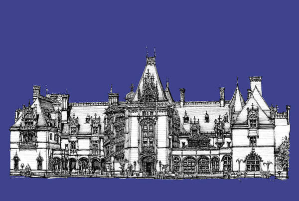 Graphics Drawing - Biltmore Estate In Royal Blue by Building  Art