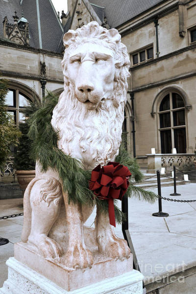 Lion Statue Wall Art - Photograph - Biltmore Mansion Estate Lion - Biltmore Mansion Mascot - Biltmore Lion Christmas Wreath by Kathy Fornal