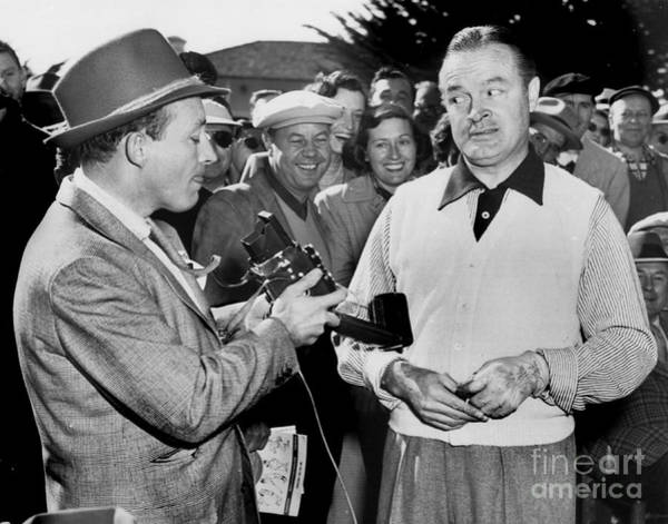Photograph - Bing Crosby  And Bob Hope Ham It Up At Pebble Beach 1951  by California Views Archives Mr Pat Hathaway Archives