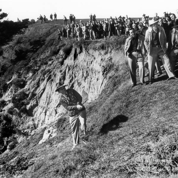 Photograph - Bing Crosby Playing In The Rough At Pebble Beach Circa 1958 by California Views Archives Mr Pat Hathaway Archives