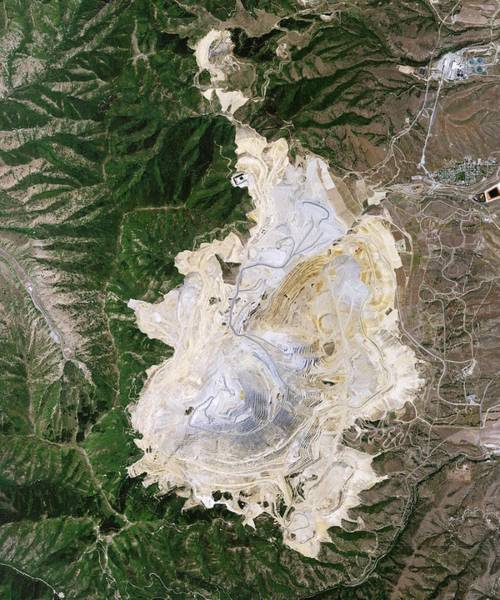 Satellite Photograph - Bingham Canyon Mine Landslide by Nasa Earth Observatory/jesse Allen And Robert Simmon/eo-1 Team/national Agricultural Imagery Program