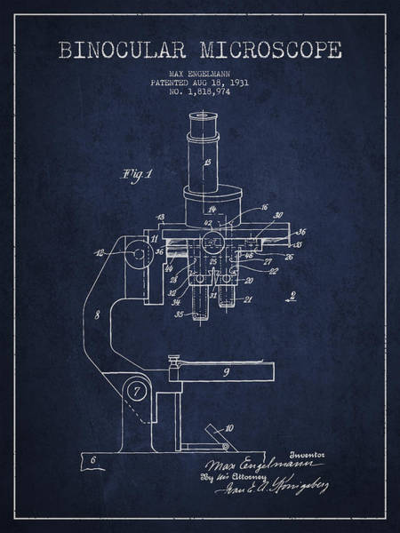 Wall Art - Digital Art - Binocular Microscope Patent Drawing From 1931 - Navy Blue by Aged Pixel