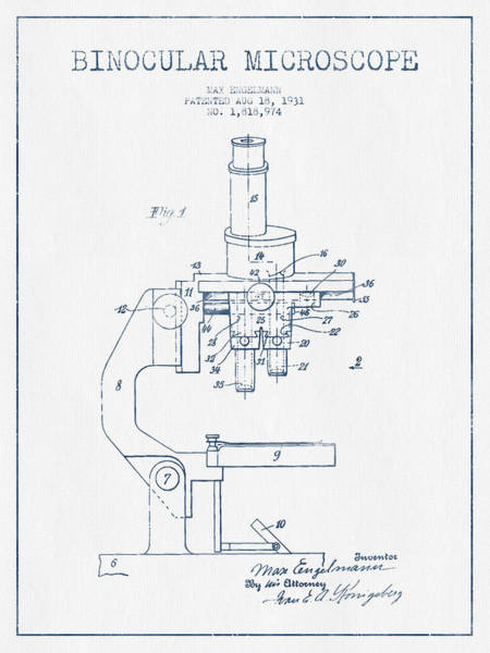 Wall Art - Digital Art - Binocular Microscope Patent Drawing From 1931 - Blue Ink by Aged Pixel