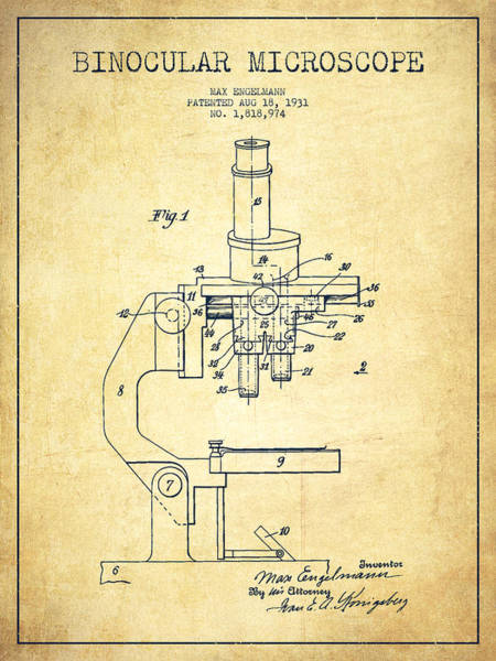 Wall Art - Digital Art - Binocular Microscope Patent Drawing From 1931-vintage by Aged Pixel