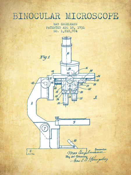 Wall Art - Digital Art - Binocular Microscope Patent Drawing From 1931 - Vintage Paper by Aged Pixel