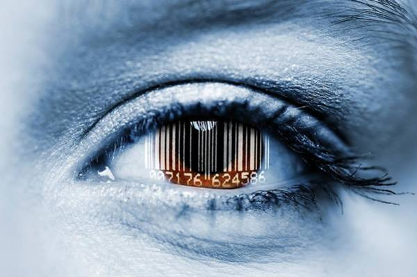 Barcode Wall Art - Photograph - Biometric Eye Scan by Bildagentur-online/ohde/science Photo Library