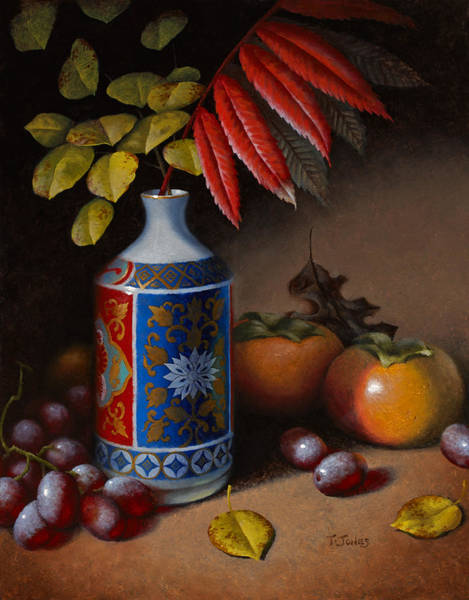 Persimmon Painting - Birch And Sumac With Persimmons by Timothy Jones