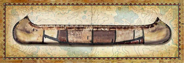 Painting - Birch Bark Canoe And Map by JQ Licensing