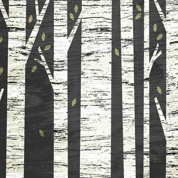 White Birch Trees Wall Art - Painting - Birch Forest Crop by Michael Mullan