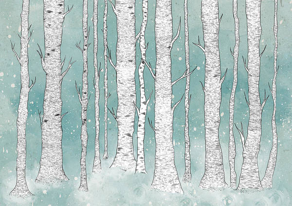 Tree Wall Art - Digital Art - Birch Forest by Randoms Print