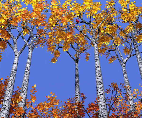 Gold Leaves Digital Art - Birch Grove by Cynthia Decker