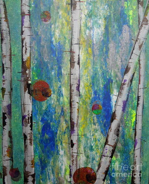 Painting - Birch - Lt. Green 4 by Jacqueline Athmann