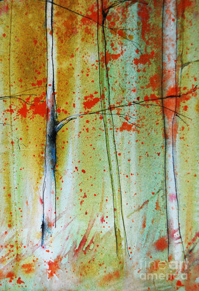 Painting - Birch Tree Forest Closeup by Jani Freimann