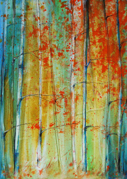 Painting - Birch Tree Forest by Jani Freimann
