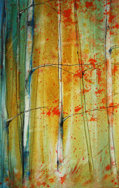 Painting - Birch Tree Forest - Left by Jani Freimann