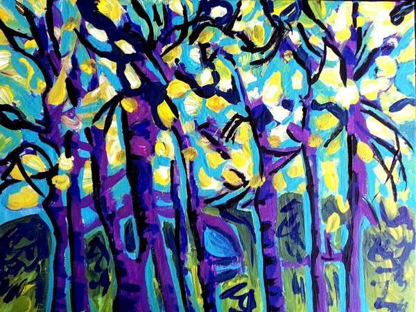 Birch Trees Blue Art Print