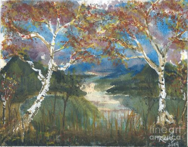 Birch Trees On The Ridge  Art Print