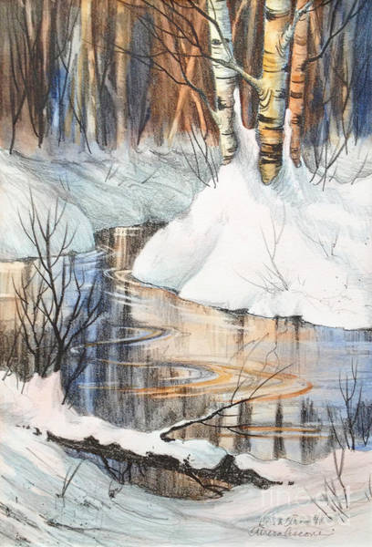 Trio Drawing - Birch Trio II by Teresa Ascone
