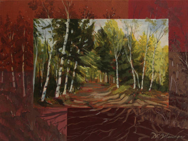 Painting - Birches Along The Lane by David Gilmore