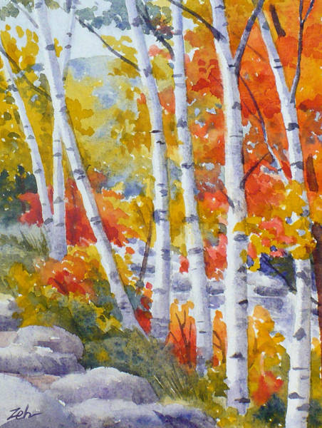 Painting - Birches Along The River by Janet Zeh