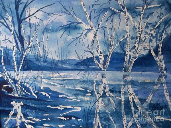 Wall Art - Painting - Birches In Blue by Ellen Levinson