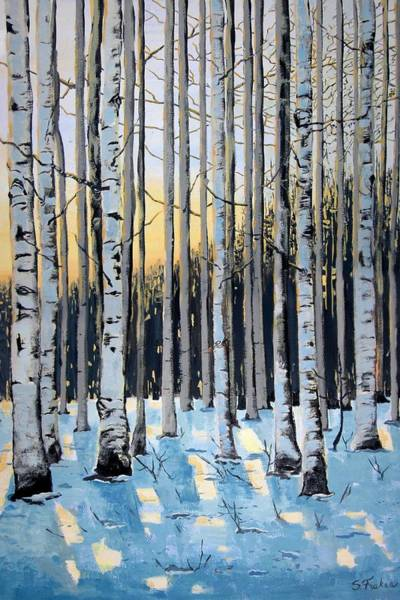 Up North Painting - Birches by Suzanne Fraker