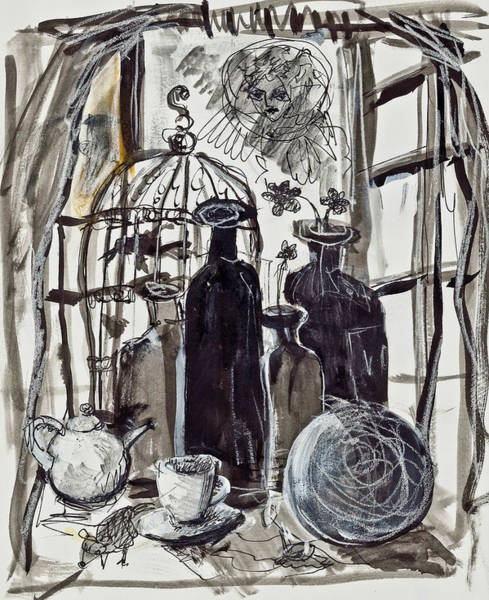 Painting - Bird Cage And Two Bottles by Maxim Komissarchik
