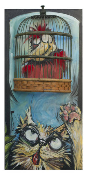 Painting - Bird In Cage With Cat by Tim Nyberg