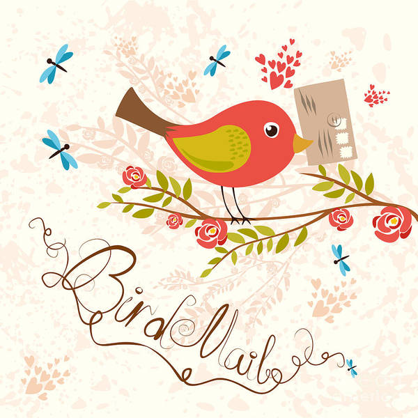 Wall Art - Digital Art - Bird-mail. Postcrossing Cheerful. Cute by Lesyaskripak