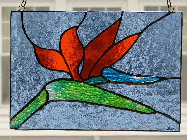 Glass Art - Bird Of Paradise by Karin Thue