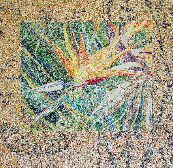 Painting - Bird Of Paradise With Tapa Cloth by Terry Holliday