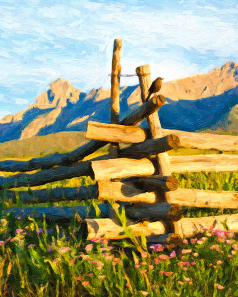 Digital Art - Bird On The Fence by Rick Wicker