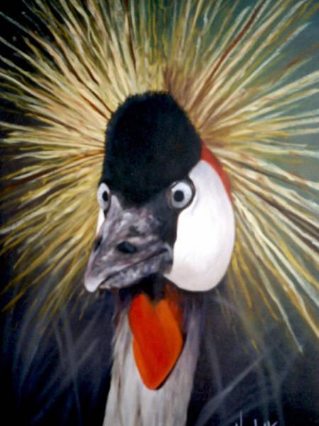 Water Foul Painting - Bird Portrait Crested Crane by Nicoletta Filarski