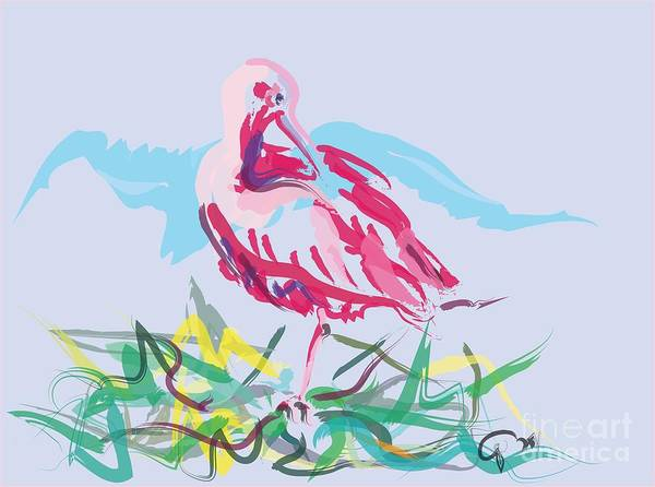 Painting - Bird Red Ibis by Go Van Kampen