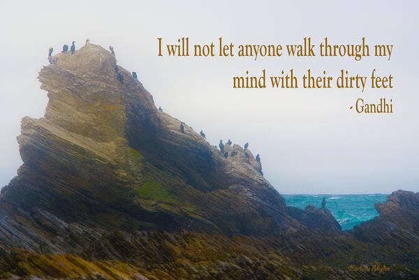 Montana De Oro State Park Photograph - Bird Rock Gandhi Quote by Barbara Snyder