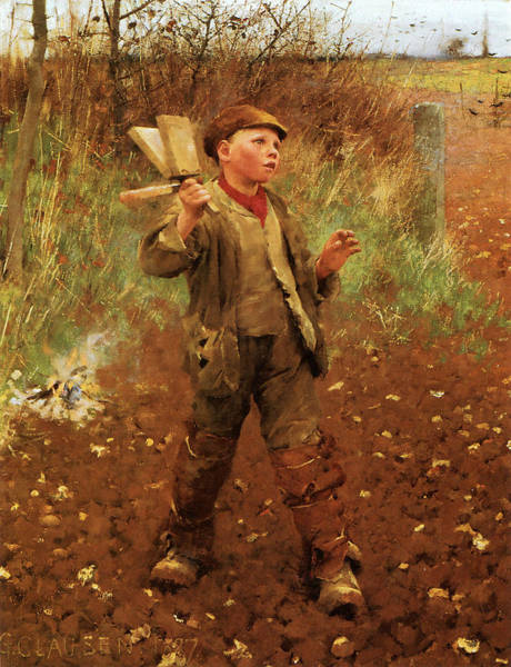 Scared Painting - Bird Scaring by George Clausen