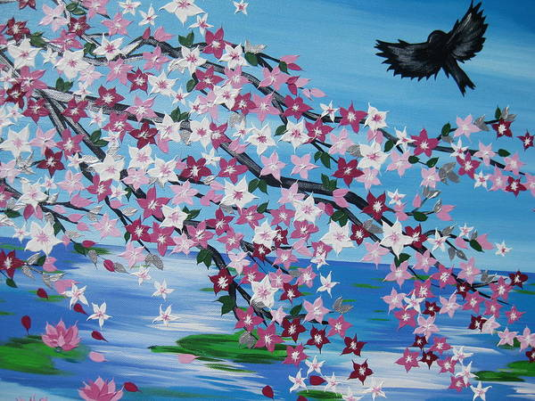 Cathy Painting - Bird With Cherry Blossom by Cathy Jacobs