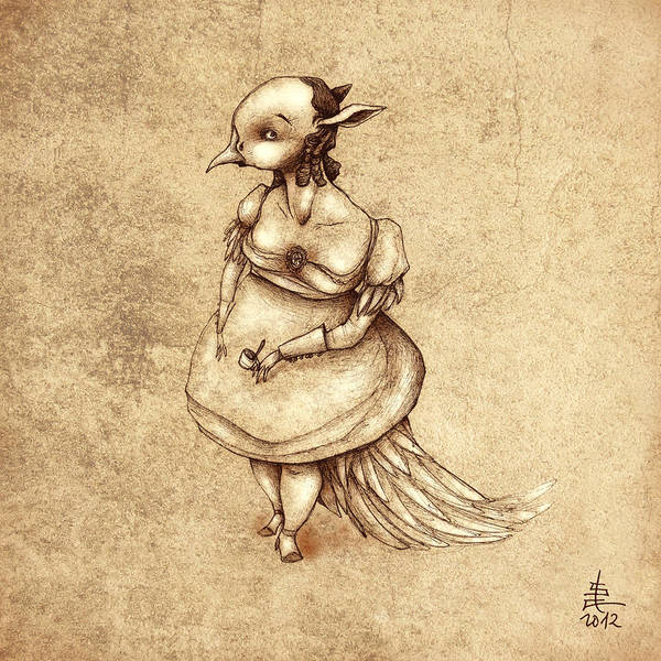 Wall Art - Painting - Bird Woman by Autogiro Illustration
