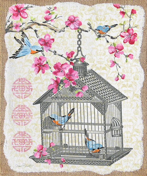 Bird Watercolor Mixed Media - Birdcage With Cherry Blossoms-jp2611 by Jean Plout