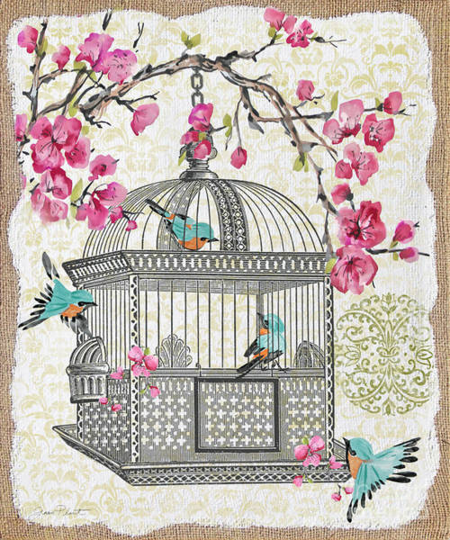 Bird Watercolor Mixed Media - Birdcage With Cherry Blossoms-jp2612 by Jean Plout