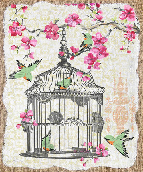Bird Watercolor Mixed Media - Birdcage With Cherry Blossoms-jp2613 by Jean Plout