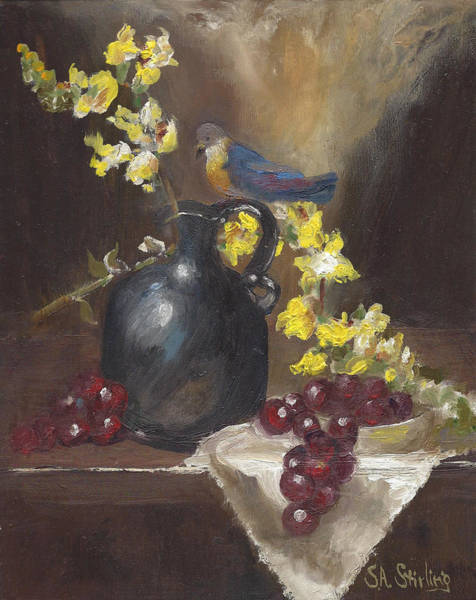 Snapdragons Painting - Birdonit Still Life With Snapdragons And Bird On Pitcher by Shirley Stirling