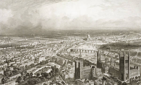 Wall Art - Drawing - Birds Eye View Of London From Westminster Abbey by Nicolas Marie Joseph Chapuy