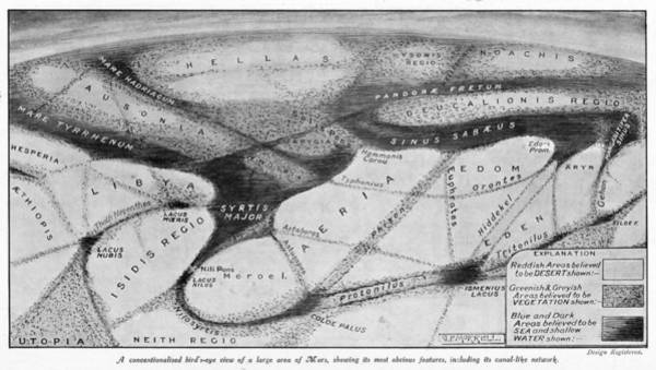 1924 Drawing - Bird's Eye View Of Part Of The  Martian by  Illustrated London News Ltd/Mar