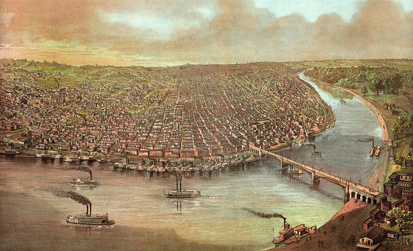 Mississippi River Drawing - Birds Eye View Of Saint Louis, Missouri As Seen by Litz Collection