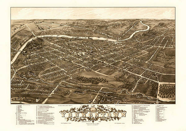 Collectible Art Drawing - Bird's-eye View Of Youngstown Ohio 1882 by Mountain Dreams