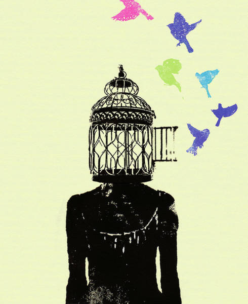 Idealistic Wall Art - Photograph - Birds Flying Out Of Womans Head Birdcage by Ikon Ikon Images